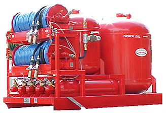 twin agent industrial fire protection system dry chemical afff 3000