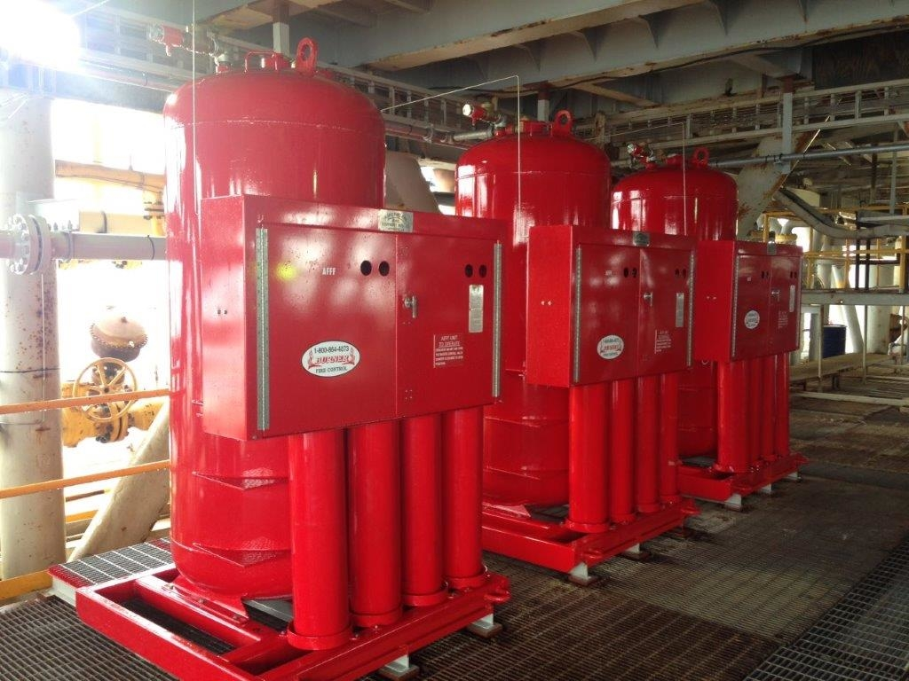 Offshore Platform Installation in the Gulf of Mexico of 500 Gallon AFFF Stations for Class B Hydrocarbon Fire Protection